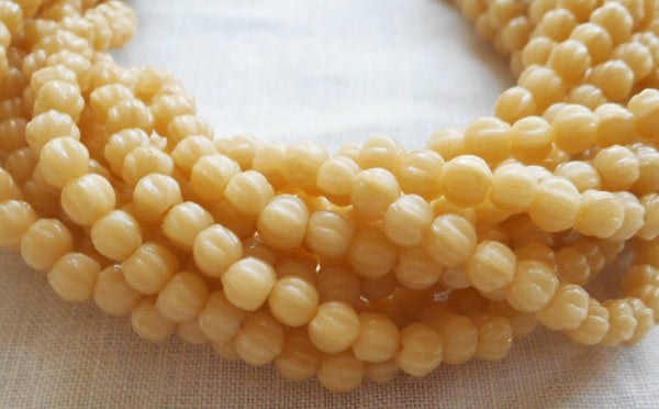 Fifty 3mm Antique Beige melon beads, neutral Czech pressed glass beads C8550 - Glorious Glass Beads