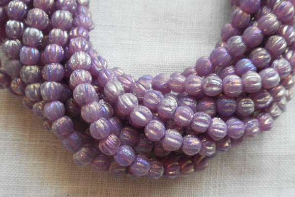 Fifty 3mm Luster Iris Milky Amethyst melon beads, pressed opaque purple glass Czech beads, C4650 - Glorious Glass Beads