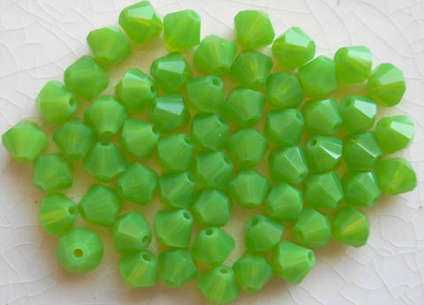 Lot of 24 6mm Opaque Green Opal Czech Preciosa Crystal bicone beads, faceted glass green bicones C4801 - Glorious Glass Beads