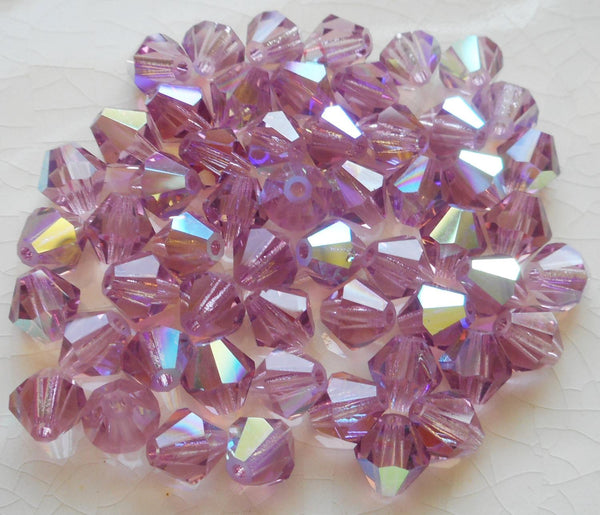 Lot of 24 6mm Light Amethyst AB Czech Preciosa Crystal bicone beads, faceted glass purple AB bicones C60101