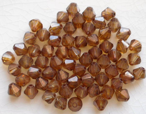Lot of 24 6mm Lumi Brown Czech Preciosa Crystal bicone beads, faceted glass brown bicones C60101 - Glorious Glass Beads