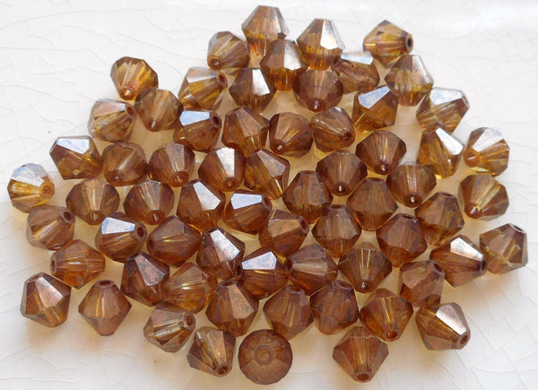 Lot of 24 6mm Lumi Brown Czech Preciosa Crystal bicone beads, faceted glass brown bicones C60101
