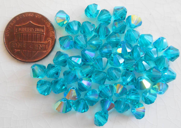 Lot of 24 6mm Blue Zircon AB AB Czech Preciosa Crystal bicone beads, faceted glass blue AB bicones C60101