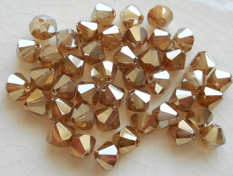 Lot of 24 6mm Light Golden Flare Gold Metallic Czech Preciosa Crystal bicone beads, faceted gold glass bicones C7801