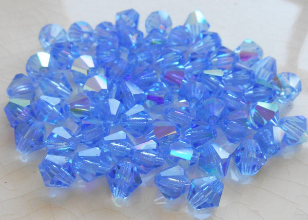 Lot of 24 6mm Sapphire Blue AB Czech Preciosa Crystal bicone beads, faceted glass blue AB bicones C60101