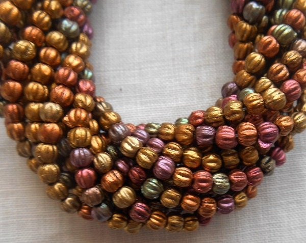 Lot of 100 3mm Matte Metallic Bronze Iris glass melon beads, Czech pressed glass beads C8550