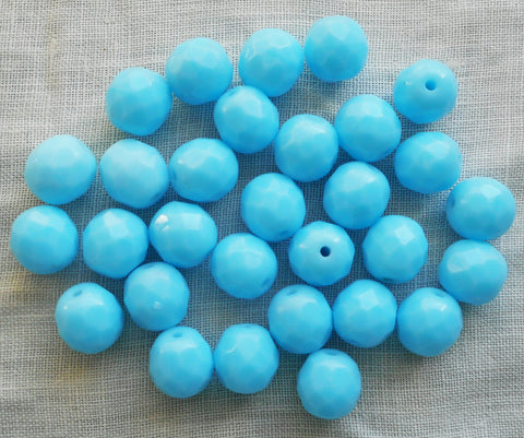 Lot of 25 8mm Opaque Turquoise Blue Czech glass beads, firepolished, faceted round beads, C90125 - Glorious Glass Beads