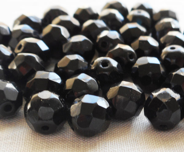 Lot of 25 8mm Jet black Czech glass beads, firepolished faceted, round beads C4525