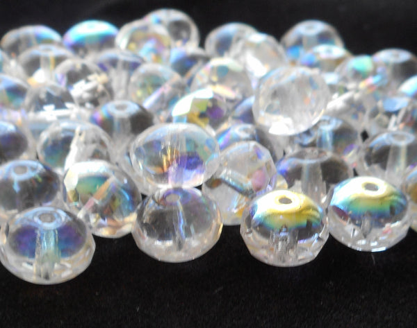 Lot of 25 6 x 9mm Crystal AB faceted puffy rondelle beads, Czech glass rondelles C3825