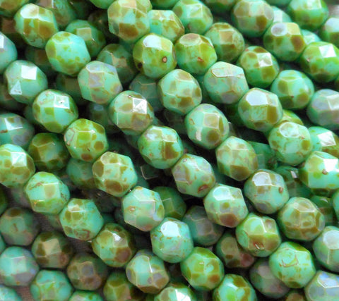 Lot of 25 6mm Picasso Teal Green beads, round Czech glass faceted, firepolished beads C1625