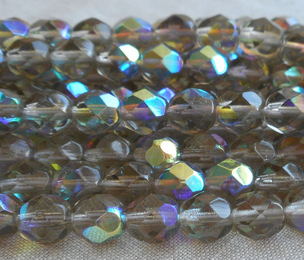 Lot of 25 6mm Black Diamond AB, faceted round firepolished glass beads C8425 - Glorious Glass Beads