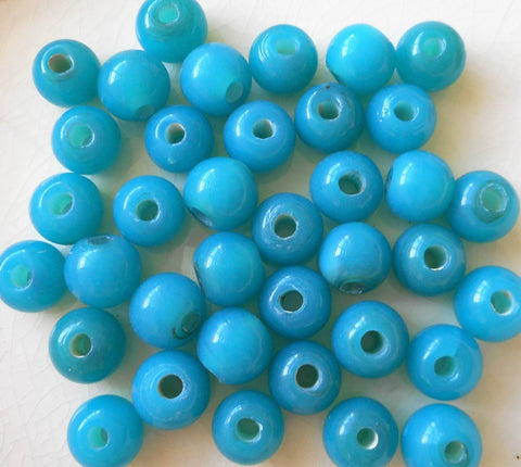 Ten 12mm Bright Opaque Aqua Blue big large hole glass beads with 3mm holes, smooth round druk beads, Made in India C8401