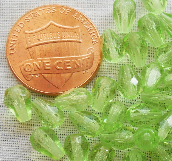 Lot of 25 7 x 5mm Peridot Green teardrop Czech glass beads, faceted firepolished beads C3601 - Glorious Glass Beads