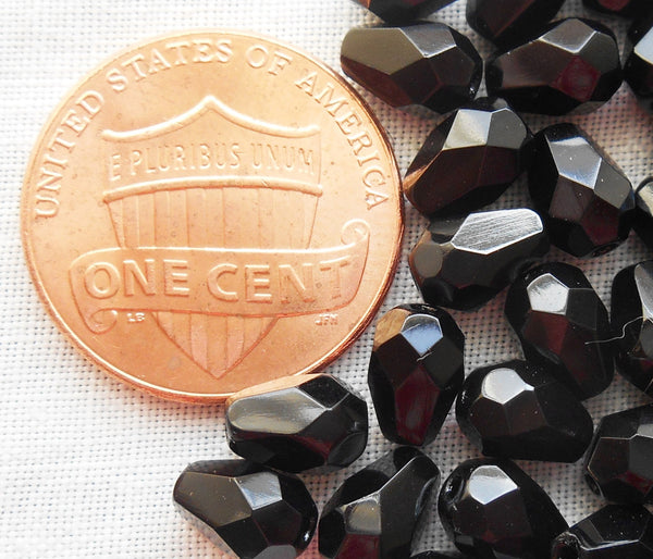 Lot of 25 7 x 5mm Jet Black teardrop Czech glass beads, faceted firepolished beads C4701