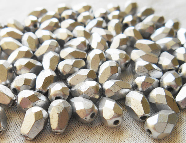 Lot of 25 7 x 5mm Czech glass Matte Metallic Silver Glass teardrop beads, faceted firepolished beads C7501
