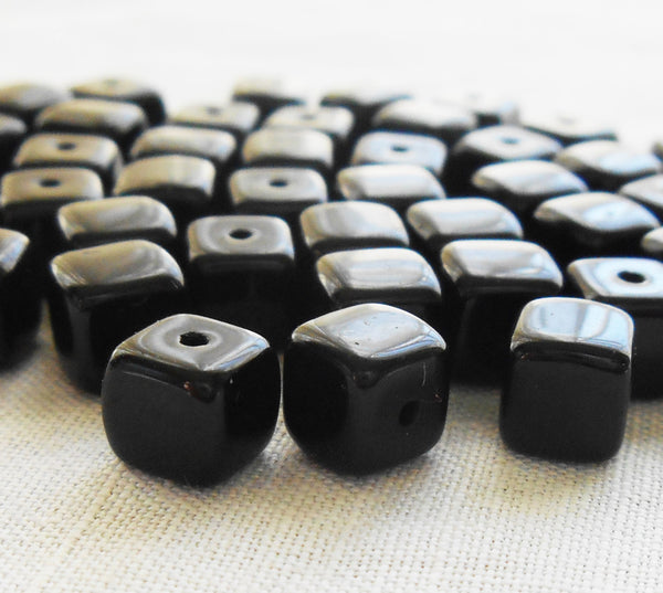 Lot of 25 Opaque Jet Black Cube Beads, 5 x 7mm Czech glass beads, C8125 - Glorious Glass Beads