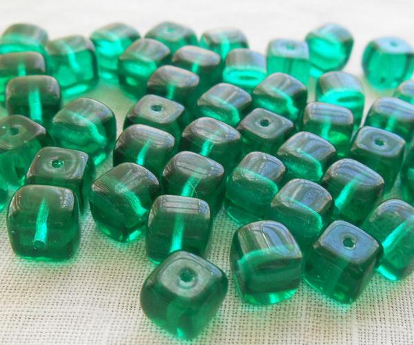 Lot of 25 Teal, Blue Green Cube Beads, 5 x 7mm Czech glass beads, C5325 - Glorious Glass Beads