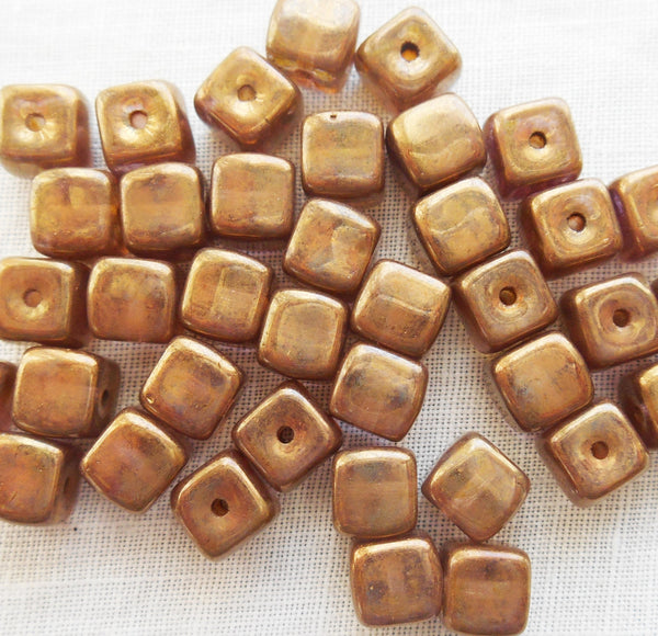 Lot of 25 Lumi Brown Cube Beads, 5 x 7mm Czech glass beads, C6225 - Glorious Glass Beads