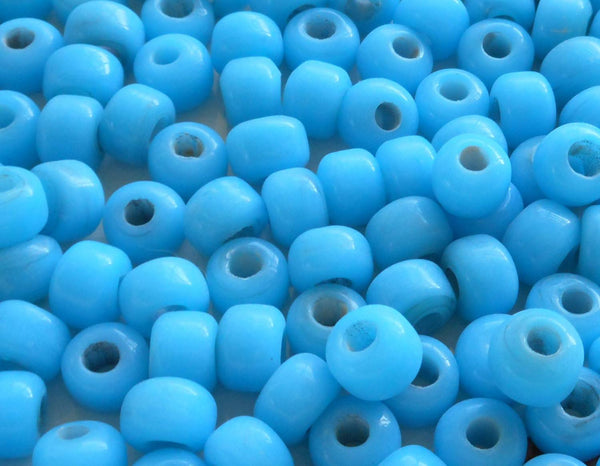 Lot of 25 9mm Opaque Turquoise Blue glass pony roller beads, large hole, big hole crow beads, Made in India, C0401 - Glorious Glass Beads