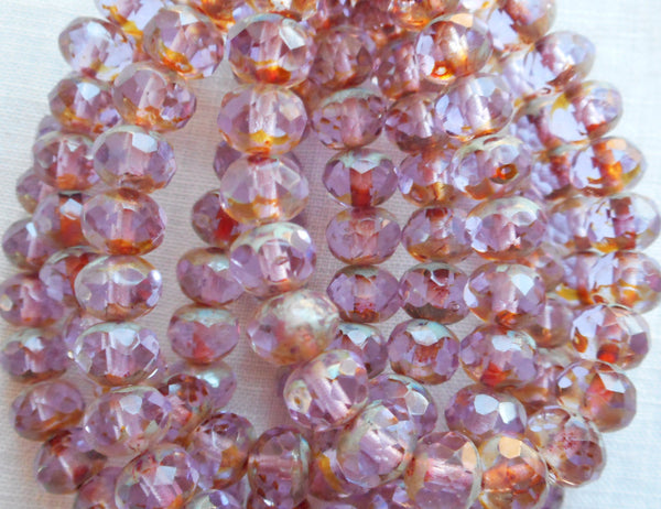Lot of 25 Transparent light purple, lavender Picasso faceted puffy rondelle or donut beads, 5 x 7mm Czech glass beads C52201 - Glorious Glass Beads