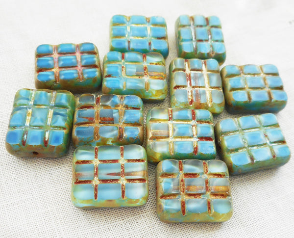 Five large 15 x 13mm turquoise blue picasso, rectangular, table cut, square, carved picasso one hole rectangle beads, Czech glass beads C31101