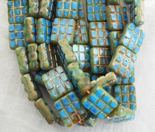 Five large 15 x 13mm turquoise blue picasso, rectangular, table cut, square, carved picasso one hole rectangle beads, Czech glass beads C93101 - Glorious Glass Beads