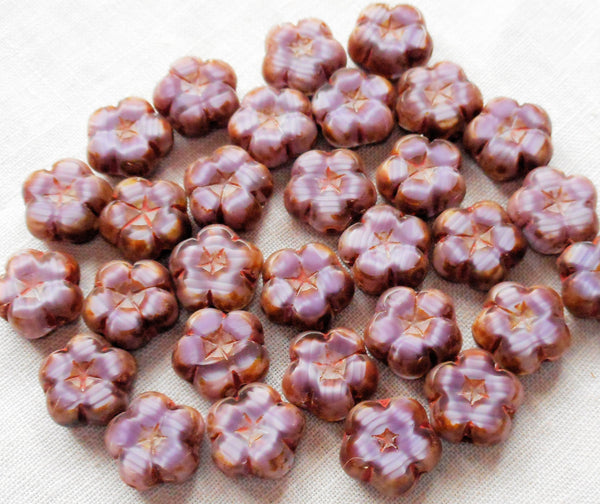 Ten 10mm Czech table cut, carved, purple or amethyst picasso Hawaiian flower beads C20101 - Glorious Glass Beads