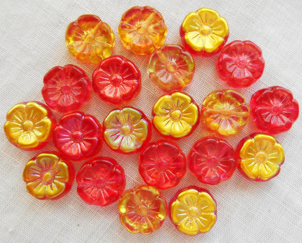 Lot of 10 12mm red, orange, gold, and yellow iridescent Czech glass flower beads, pressed glass Hawaiian flower beads, C1901