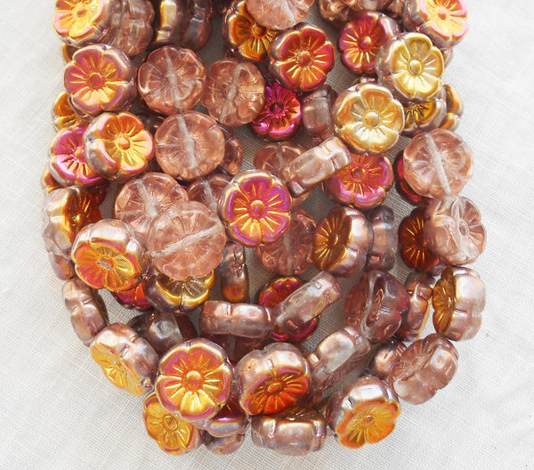 Lot of 10 12mm yellow, peach, orange and pink iridescent sunset maple Czech glass flower beads, pressed glass Hawaiian flower beads, C1901 - Glorious Glass Beads