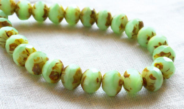 Lot of 25 Opaque Mint Green Picasso faceted puffy rondelle or donut beads, 5 x 7mm green Czech glass beads C00201