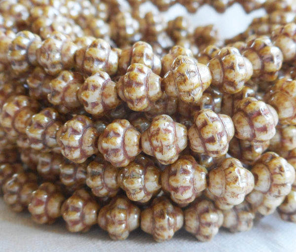 Lot of 25 small 5mm x 6mm saturn or saucer beads, opaque beige, tan, brown picasso, Czech glass spacer bead C7625 - Glorious Glass Beads