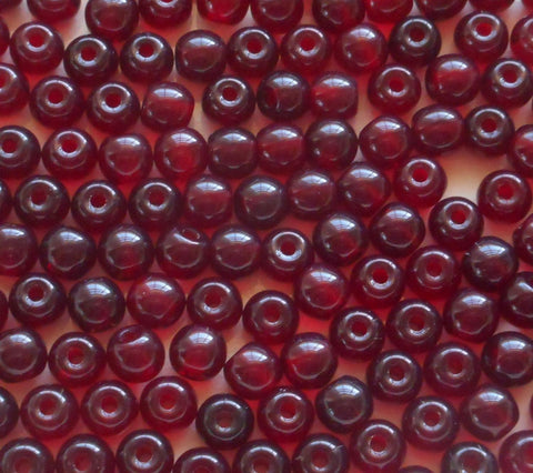 Lot of 25 8mm Czech glass big hole beads, Garnet red smooth round druk beads with 2mm holes C8201 - Glorious Glass Beads