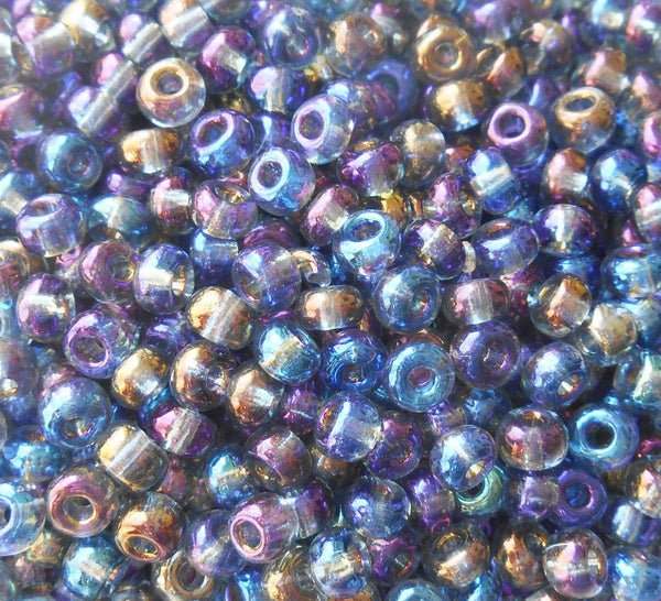 Pkg of 24 grams Black Diamond Ab Czech 6/0 large glass seed beads, size 6 Preciosa Rocaille 4mm spacer beads, large, big hole C8424