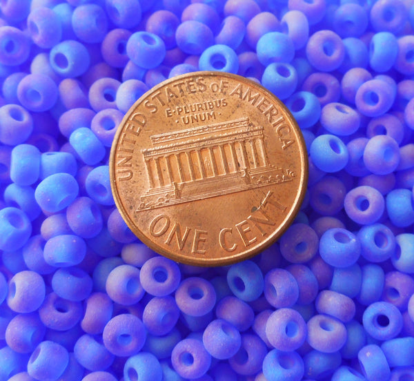 Pkg of 24 grams Dark Sapphire Blue AB Matte Czech 6/0 large glass seed beads, size 6 Preciosa Rocaille 4mm spacer beads, large, big hole C2524 - Glorious Glass Beads