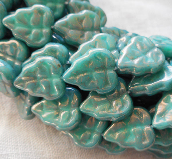 Lot of 25 Czech glass leaf beads, Luster Opaque Turquoise Blue center drilled 8 x 10mm beads C67101