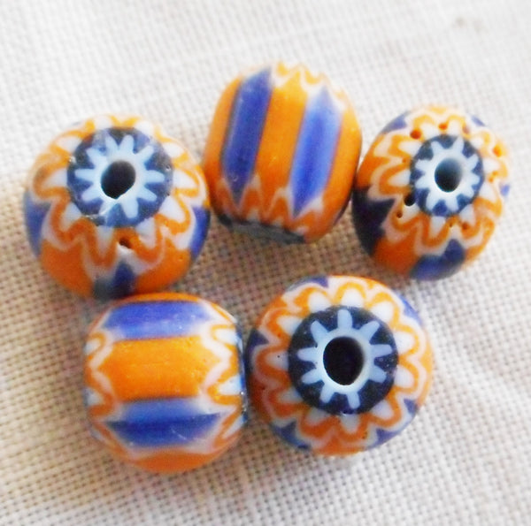 Six large blue and orange striped chevron glass Beads 10 x 11mm C0501 - Glorious Glass Beads