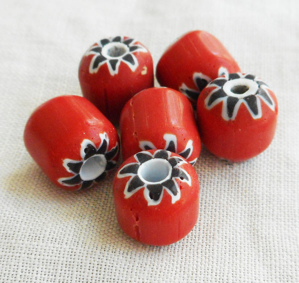 Ten large red chevron glass beads with a black and white pattern on the ends 8 x 9mm C4601