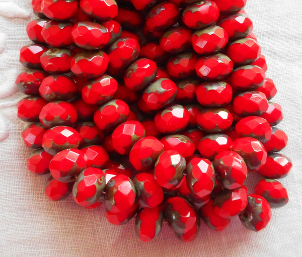 Lot of 25 6 x 8mm Czech opaque coral red picasso faceted puffy rondelle beads, Czech glass rondelles 00301