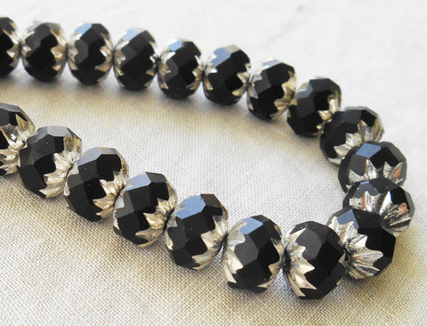 Lot of 25 6 x 9mm opaque black and silver picasso Czech glass faceted cruller beads C58201