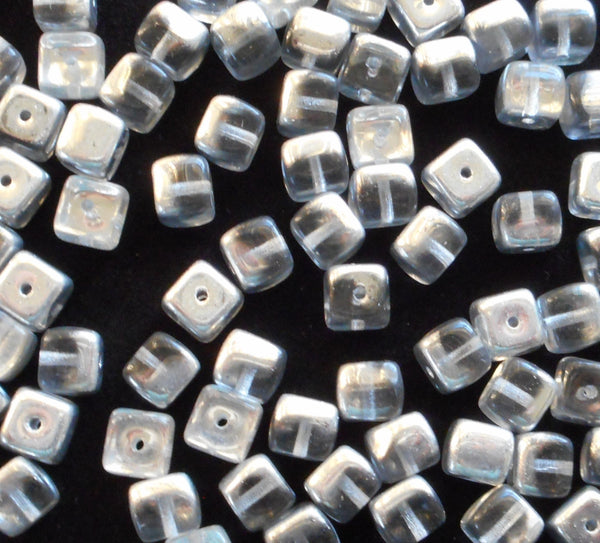 Lot of 25 Platinum Silver Crystal Cube Beads, 5 x 7mm Czech glass beads, C4325 - Glorious Glass Beads