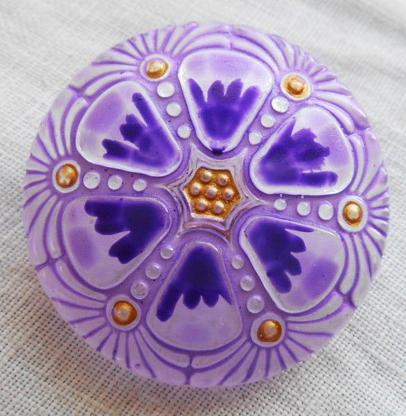 One 27mm Czech glass button, purple hand painted wheel pattern with gold accents , decorative shank buttons C59201