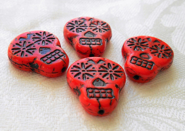Four large red & black Czech glass skull beads, opaque red glass with black wash, focal beads, 20mm x 17mm C02101