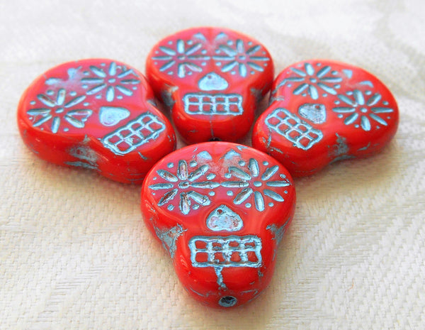 Four large red & black Czech glass skull beads, opaque red glass with a turquoise blue wash, focal beads, 20mm x 17mm C02101