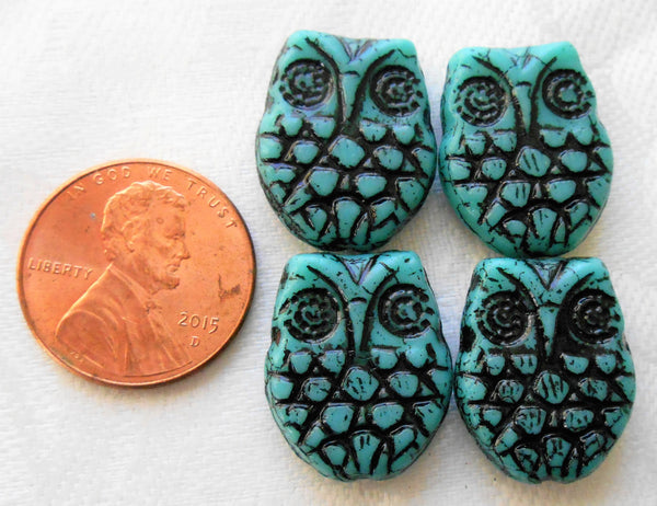 Four large turquoise blue & black Czech glass owl beads, opaque turquoise blue glass with a black wash, focal beads, 18mm x 15mm C00101