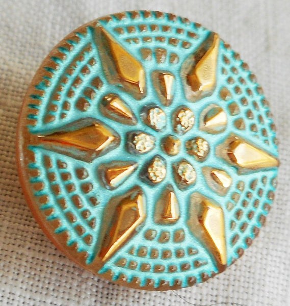 One 18mm Czech glass button, with a gold raised star with a turquoise wash, verdigris look decorative shank button 05201 - Glorious Glass Beads