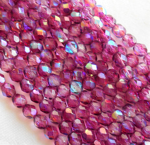 Lot of 25 6mm Czech glass beads coated Violet AB, Light Purple, Amethyst firepolished, faceted round beads C6425