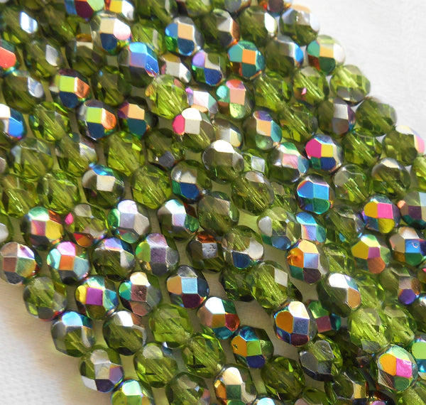Lot of 25 6mm Olive, Olivine Green Vitral firepolished, faceted round beads Czech glass beads, C8425
