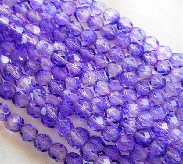 Lot of 25 6mm Blue Violet Czech glass beads, firepolished, faceted round beads 2601