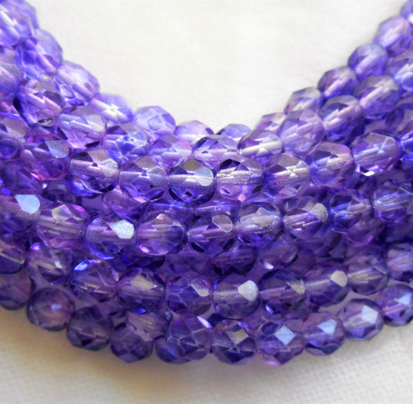 Lot of 25 6mm Blue Violet Czech glass beads, firepolished, faceted round beads 2601 - Glorious Glass Beads