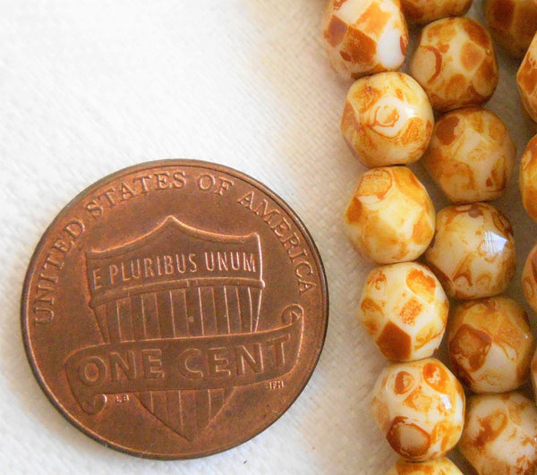 Lot of 25 6mm Czech glass beads, Opaque Off White Picasso firepolished, faceted round beads C8425